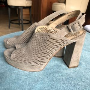 NWT Grey Platform Heeled Sandals